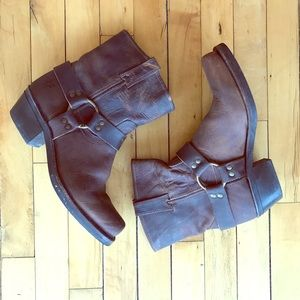 Frye 8R Brown Leather Harness Moto Boots